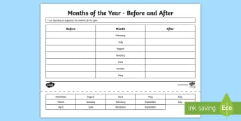 CfE 1st Level Months of the Year Activity Sheet - CfE Numeracy and Mathematics, number, time, month of the year, MNU 1.10b, activity sheets, ,Scottish