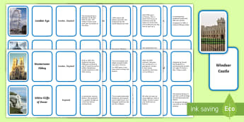 Landmarks of the British Isles Fact Matching Cards - Landmarks Of The British Isles Fact matching cards - landmarks, landmarks of the British Isles, Brit