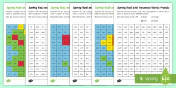 Spring Phase 3 Phonics Mosaic Activity Sheet - Spring UK, Spring, Seasons, Phonics, Mosaic, KS1, Year 1, Year 2, Reception, EYFS, Phonics Screen, P