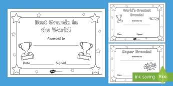 World's Greatest Granda Certificates - granda, certificate, grandad, grandfather, grandparents day, father's day,Irish