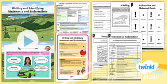 PlanIt Y1 Language Conventions: Writing and Identifying Statements and Exclamations Lesson Pack - PlanIt, Planit, Language Conventions, Australia, Punctuation, Grammar, activity sheets, lesson plan,