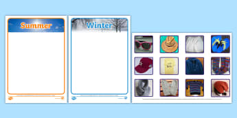Photo Summer and Winter Clothes Sorting Activity - sorting, activity, photo, summer, winter, clothes