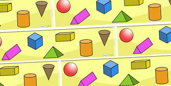 3D Shape Display Borders - Shape, shapes, display border, classroom border, border, display,  3D Shapes, Shape display, Shape Pictures, sphere, cuboid, pyramid