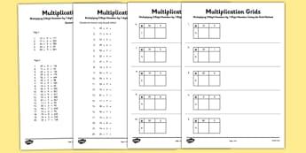 Multiplying 2 Digit Numbers by 1 Digit Numbers Using Grid Method Activity Sheet Pack - Multiplication, grid method, worksheet