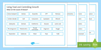 OCR 21st Century Biology Using Food and Controlling Growth Word Mat - Word Mat, gcse, biology, respiration, cellular respiration, respire, aerobic, anaerobic, ATP, glucos