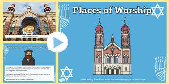Pŵerbwynt CA2 Lleoedd Addoli Synagogau Iddewig PowerPoint