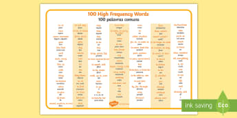 High Frequency Words Word Mat English/Portuguese - 100 High Frequency Words Word Mat - word mat, frequency words, high frequecy words, high frquency wo