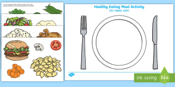 Healthy Eating Meal Activity English/French - Healthy Eating Meal Activity - healthy, healthy eating, sort, activity, fruit, game, vegetable, heal