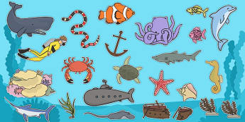 Under The Sea Clip Art Images - animals, under the sea, sea, fish, dolphin, wale, crab, starfish, clip art, images