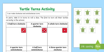 Turning Turtles Activity Sheet  - Turning Turtles Display Poster - turning turtles, display poster, display