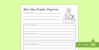 Multiparagraph Main Idea Graphic Organizer Activity Sheet - worksheet, Supporting Details, Details, Multiparagraph, Common Core, ELA, Second Grade Reading