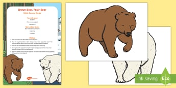 Brown Bear, Polar Bear Edible Sensory Recipe - bears, polar bear, baby, babies, food play, messy play