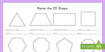 Name the 2D Shape Activity Sheet - shapes, 2D, math, geometry, activity sheet, worksheet