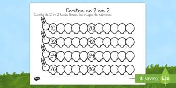 Ficha de contar de 2 en 2: Las orugas - libélula, abeja, caracol, hormiga, típula, escarabajo, mariposa, oruga, gusano, mariquita, cochini