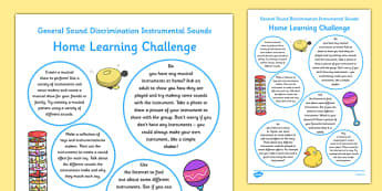 General Sound Discrimination Instrumental Sounds Home Learning Challenge Sheet FS2 - EYFS planning, Early years activities, homework activities, phonics, Letters and Sounds, Phase 1, Aspect 2, listening skills