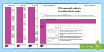 CfE Fourth Level Social Studies Assessment Benchmarks Assessment Tracker-Scottish - CfE Benchmarks, tracking, assessing, progression, numeracy, literacy, health and wellbeing,Scottish