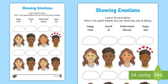 Showing Emotion Activity Sheet - emotion, body language, transition, friendship, behaviour, PSHCE, worksheet