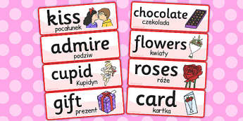 Valentines Day Topic Word Cards Polish Translation - polish