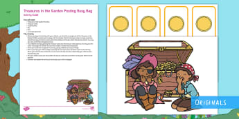 Treasures in the Garden Treasure Posting Busy Bag Resource Pack for Parents - treasure chest, positng, twinkl fiction, pirates, gold coins