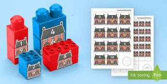 House Number Bonds to 10 Matching Connecting Bricks Game - EYFS, Early Years, KS1, Connecting Bricks Resources, duplo, lego, plastic bricks, building bricks, M