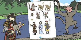 The Monkey King Stick Puppets - stick, puppets, monkey, king