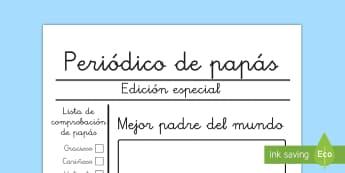 Ficha de actividad: Periódico de papás - Día del Padre - periódico, día del padre, padre, papá, papi, escritura, esciribir, regalo, descripción, describi