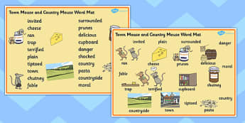 The Town Mouse and the Country Mouse Word Mat - the town mouse and the country mouse, town mouse and country mouse word mat, town mouse country mouse words