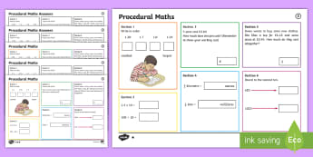 Procedural Year 5 Mat 2 Maths Activity Mats - English Medium - Procedural, national tests, money, time, measures, tests, test practice wales, Wales,Maths Acitvity