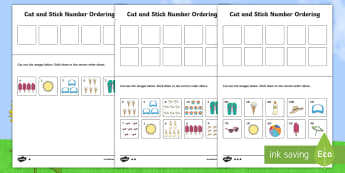 Summer Themed Cut and Paste Number Ordering Activity - winter, cut and paste, fine motor skills, activity, number ordering,Australia