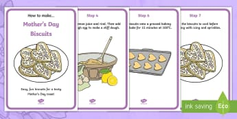Mother's Day Biscuits Recipe A4 Display Posters - KS1 & KS2 Mother's Day UK (26.3.17)