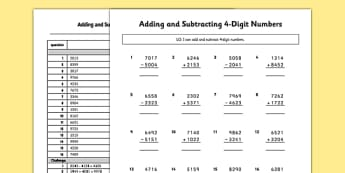 Adding and Subtracting 4-Digit Numbers without Renaming Activity Sheets - no remainder, no remaining, adding, subtracting, 4 digit numbers, exchanging, carrying, activity, worksheet