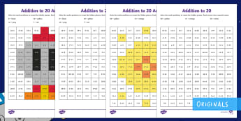 Back to Earth with a Bump Addition Up to 20 Maths Mosaic Activity Sheets - Maths, KS1, space, adding, rocket, sun, colouring, add, calculations