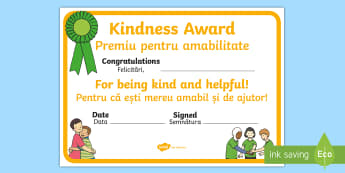 Kindness Award Certificate English/Romanian - Kindness Award Certificate - kindness award certificates, reward, award, certificate, rewards, schoo