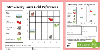 Strawberry Farm Grid Reference Activity Sheet - strawberries, strawberry plants, strawberry farming, strawberry picking, worksheet, strawberry plant