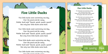 Five Little Ducks Nursery Rhyme Poster - rhymes, display, poems, went swimming one day
