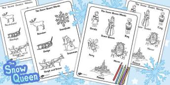 The Snow Queen Words Colouring Sheet - snow queen, colouring