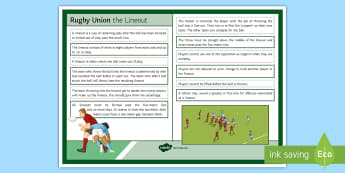 Rugby Laws Lineout Card - Rugby, PE, Law, Laws, Cards