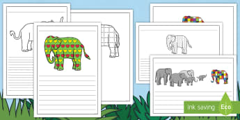 Writing Frames Pack to Support Teaching on Elmer - EYFS, Early Years, KS1, Elmer, David McKee, colour, descriptive writing, character description, elep
