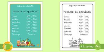 * NEW * Letrero: Cafetería saludable - alimentación, nutrición, sano, salud, comida, café, juegos, juego de rol, roles, horarios, abiert
