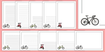 Bike Page Border Pack - Bike Page Border Pack - bik, bicycle, page border, a4 border, template, writing aid, writing border,