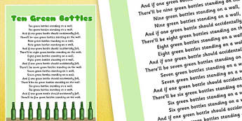 Ten Green Bottles Nursery Rhyme Poster - rhymes, poems, display