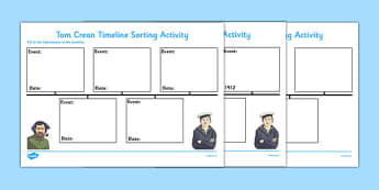 Tom Crean Timeline Sorting Activity - Tom Crean, Irish History, South Pole, Antarctica, timeline, sorting activity