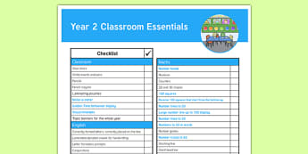 Year 2 Classroom Essentials Y2 Checklist