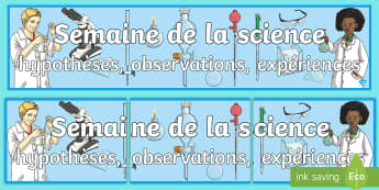 Banderole d'affichage : Semaine de la science -  fête des sciences, expériences scientifiques, affiches, affichage, poster, cycle 2, cycle 3,