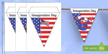 Inauguration Day Display Bunting - KS1/2, Donald Trump, Inauguration Day, Jan 20th 2017, January 20th, president, USA, US, presidency