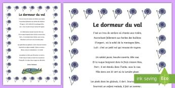Poster : Le dormeur du val - 11 Novembre, Armistice, 14-18, Première, Guerre, Poésie, Histoire, Souvenir, Cycle 2, Cycle 3,Fren