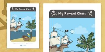 Pirate Sticker Reward Chart (15mm) - Pirate Reward Chart (15mm), pirate, reward chart, chart, reward, 15mm, 15 mm, stickers, twinkl stickers, award, certificate, well done, behaviour management, behaviour, pirate, pirates, ship, island, ocean, jolly