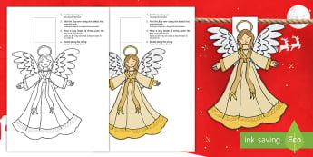 Christmas Angel Bunting English/Romanian - christmas, angel, bunting, display, EAL, border, decorations, nativity, translation