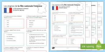 La fête nationale Quiz Activity Sheet French - French, Celebrations,fête, nationale, festival, 14th July, juillet, Bastille, worksheet, revolution