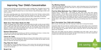 Helping Your Child to Develop Concentration and Attention Parent and Carer Information Sheet  - child, wellbeing, concentration, attention, learning, parents, parent guidance, parents meetings, ho